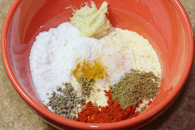 ingredients to make aloo pakora batter