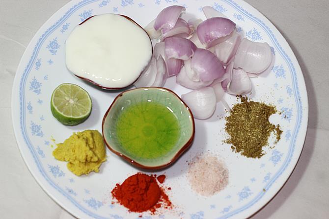 ingredients for marination to make chicken kabab recipe