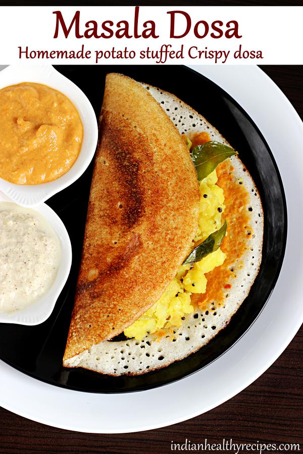 masala dosa - Learn how to make crispy restaurant style masala dosa at home. Recipe with step wise pictures. #masaladosa #masaladosarecipe #dosa #indianbreakfast #breakfast #indianfood #vegetarian