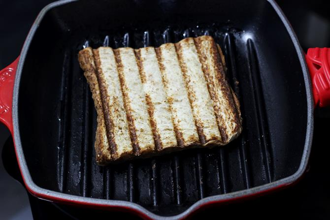 grilling bread on a grill pan