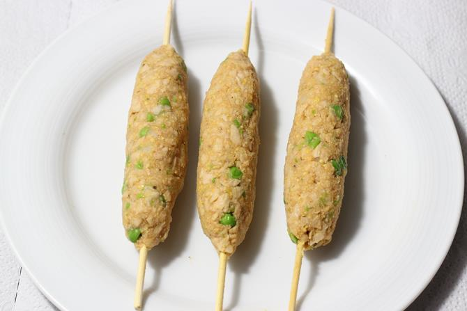 how to make soya seekh kabab on skewers