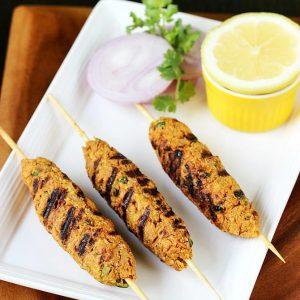 Veg seekh kabab | Soya seekh veg kabab | Vegetarian kebab