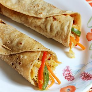 Veg kathi roll recipe for kids | Simple mix veg frankie recipe