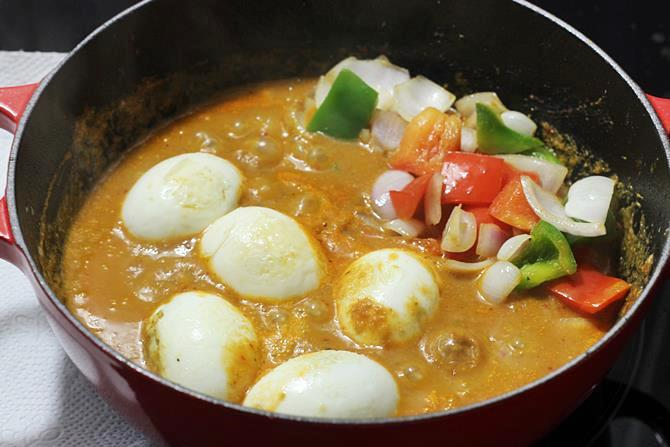 Add eggs and roasted capsicum