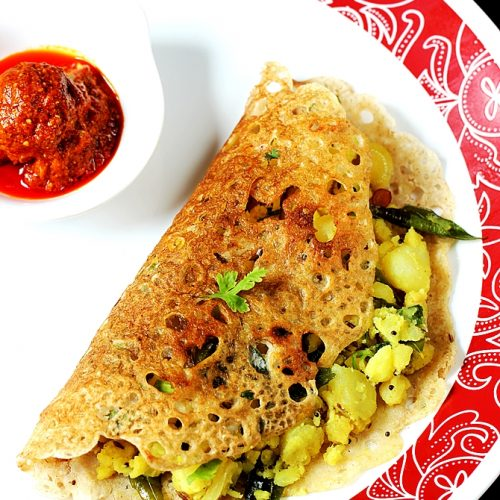 Oats masala dosa |  Oatmeal dosa with potato stuffing