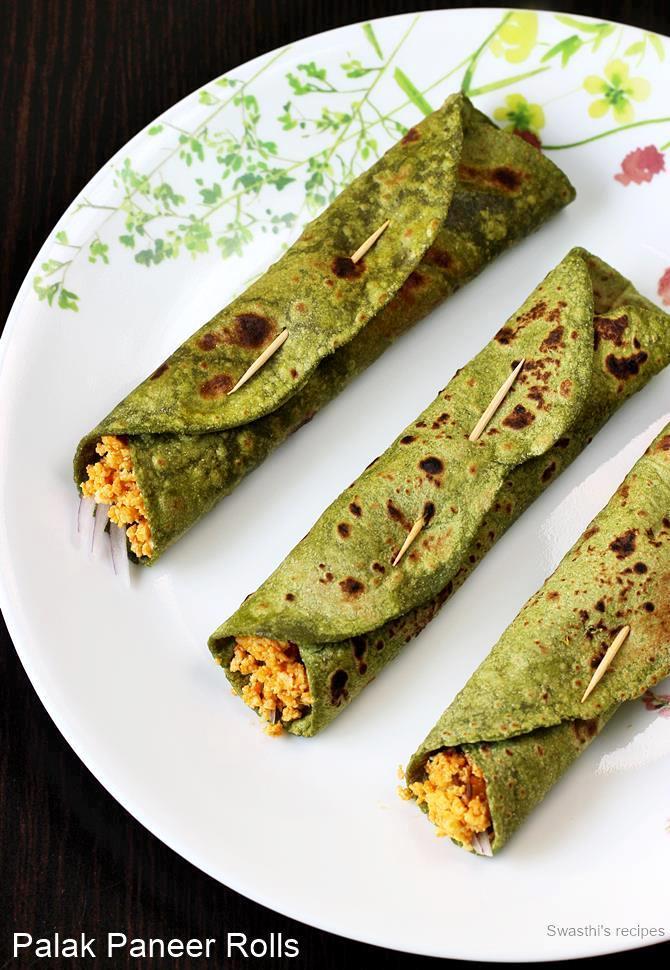 palak paneer kathi roll recipe
