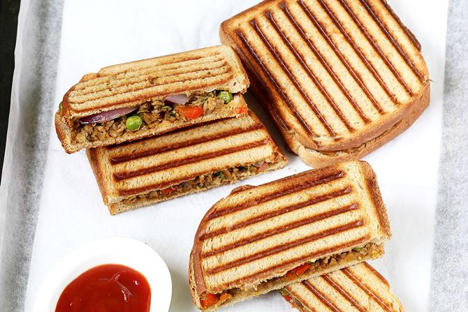 soya keema sandwich recipe