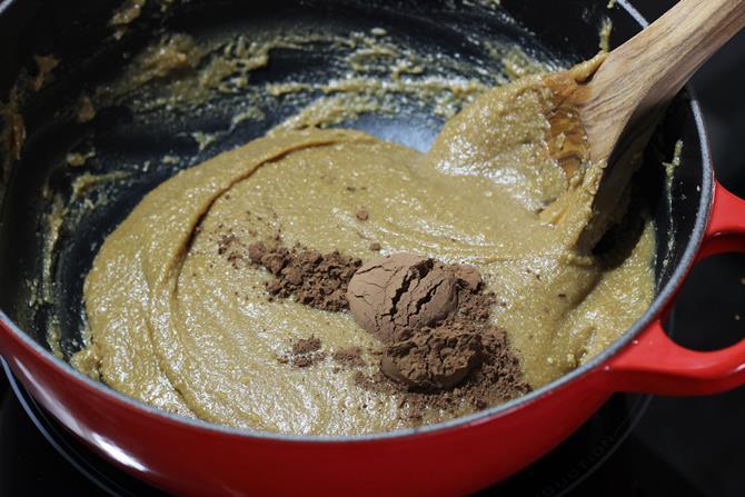 add cocoa to make chocolate modak recipe