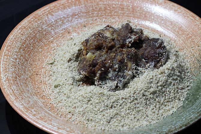 knead mix for dates sesame ladoo recipe