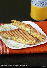Corn cream cheese sandwich