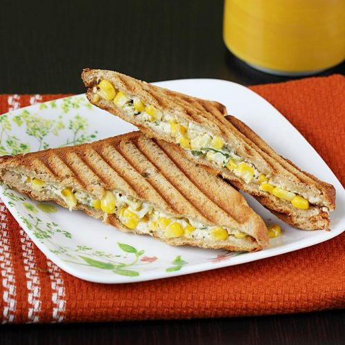 Corn cream cheese sandwich