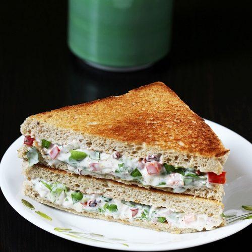 Mayonnaise sandwich   How to make veg mayo sandwich