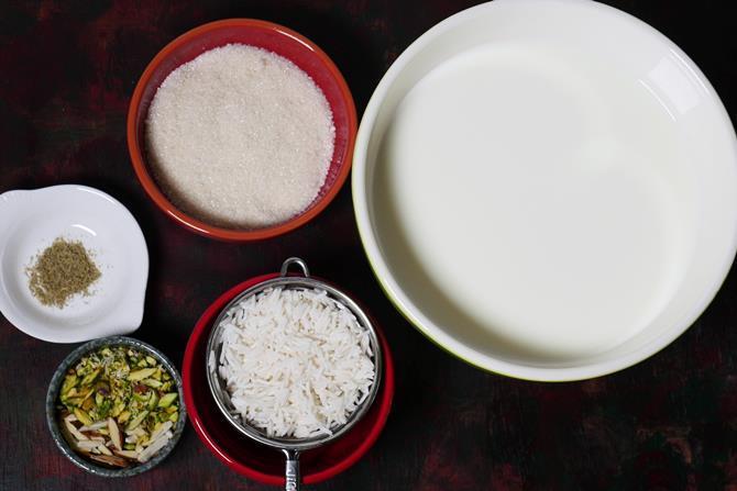 ingredients to make rice kheer