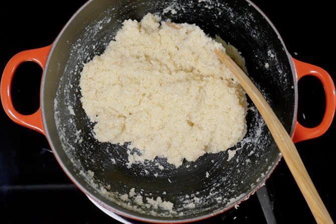 thickened barfi mixture