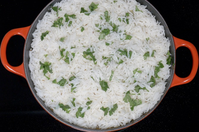 layering rice for egg roast biryani