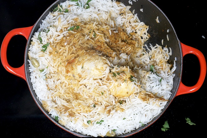 egg roast biryani in layers