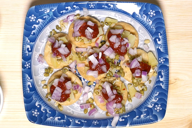 add onions for papdi chaat