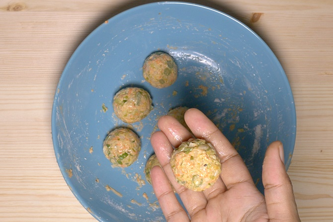 making veg balls for manchurian recipe