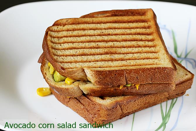 Avocado Sandwich Recipe Veg Avocado Corn Sandwich Recipe