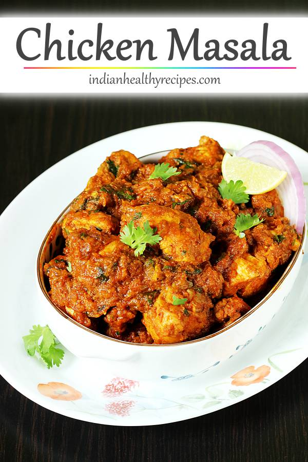 Simple chicken masala made by cooking chicken in moderately spicy onion tomato masala. It tastes great with rice, roti or naan. #chickenmasala
