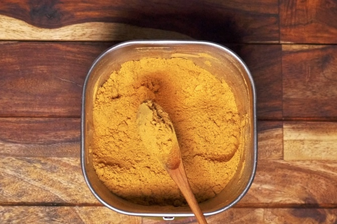 blend them to a fine sambar powder