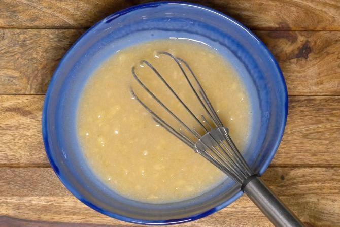 making batter for eggless banana muffins