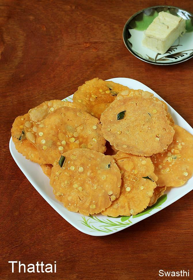Thattai recipe video thattai murukku south indian snacks recipes each home has their own recipe of making these to suit their personal preference this recipe yields light tasty and crispy thattai that you can make for a forumfinder Choice Image