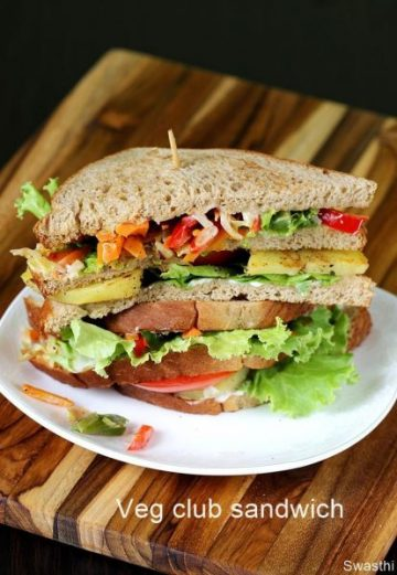 Veg club sandwich recipe |  Vegetarian club sandwich recipe