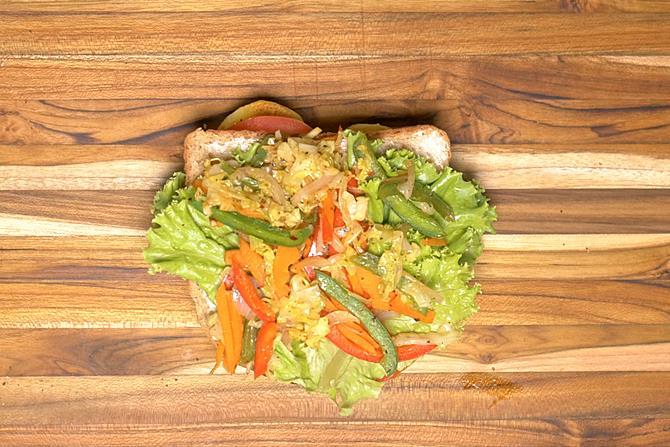 place the slice with stir fried veggie