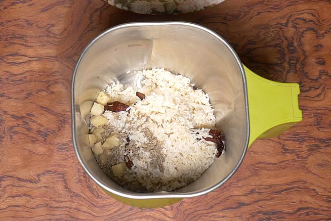 drain rice and make a thick batter to make adai