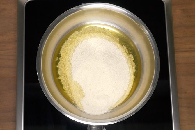 Add ghee to a pan