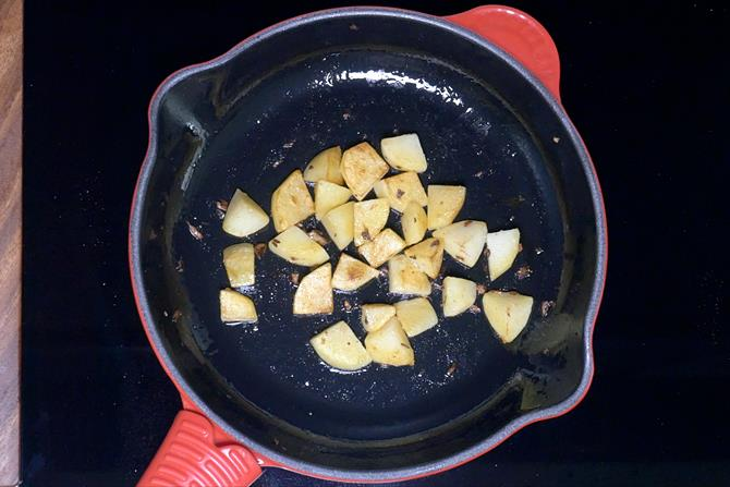frying potatoes until golden
