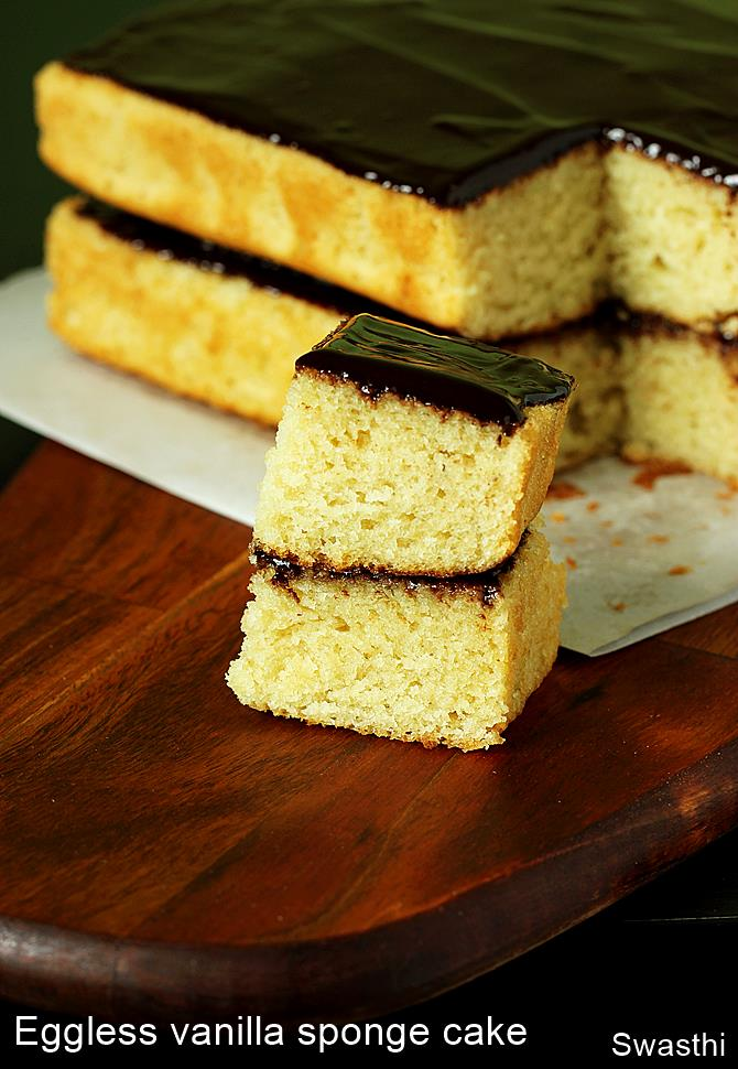 Indian Eggless Sponge Cake Recipe
