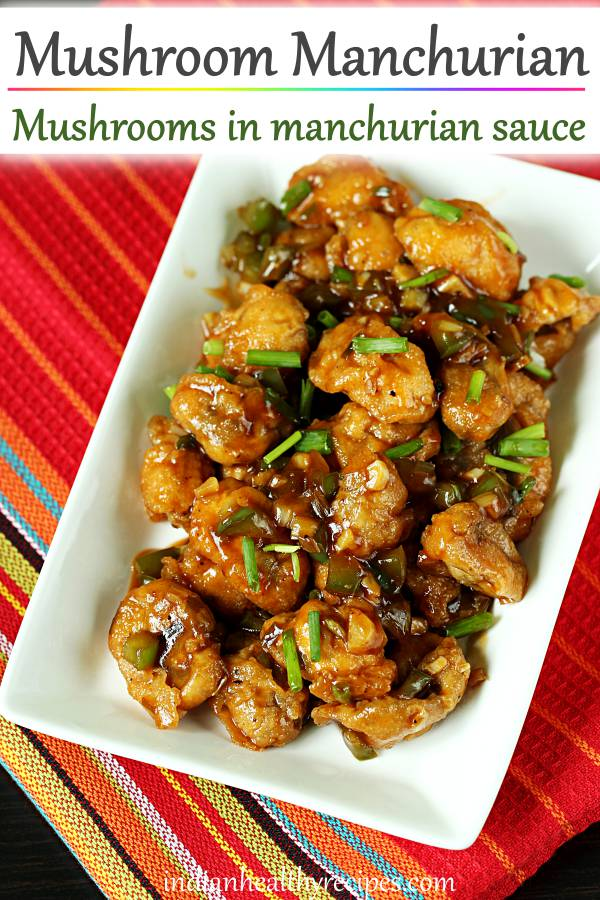 Mushroom manchurian is a Indo-chinese appetizer made by tossing batter fried mushrooms in manchurian sauce. #mushroommanchurian