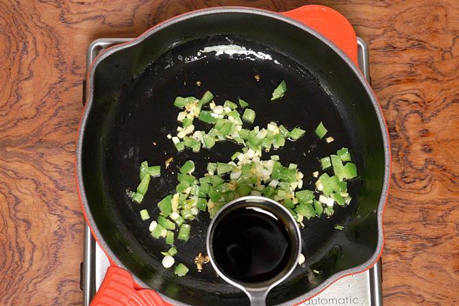 adding soya sauce