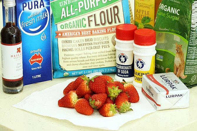 preparing ingredients for strawberry cake