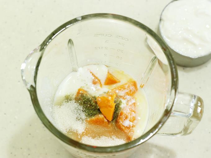 Pour water, mangoes, sugar