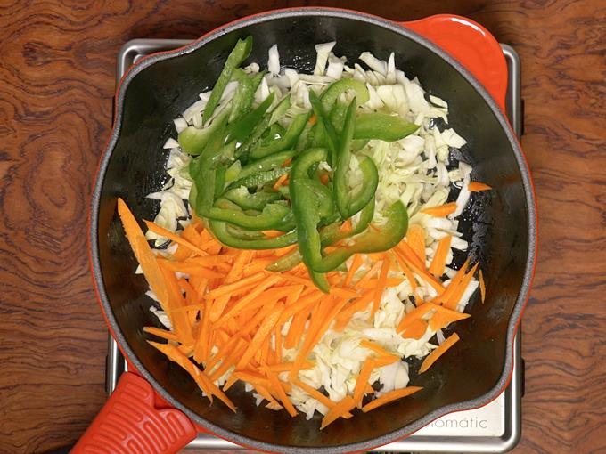 Add cabbage, capsicum and carrots