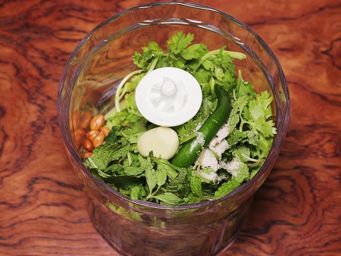 add garlic, chili, salt, mint