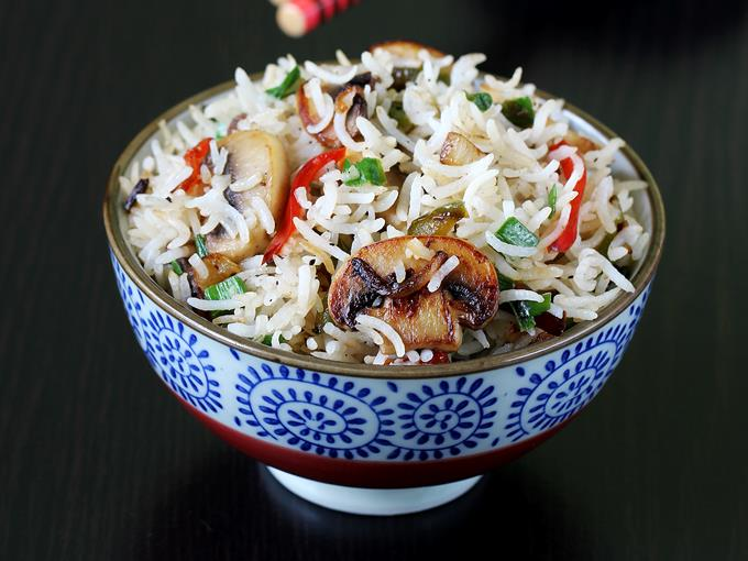 Mushroom fried rice recipe | Mushroom rice recipe
