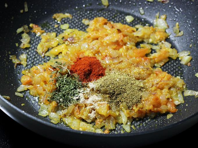 addition of spice powders for paneer bhurji