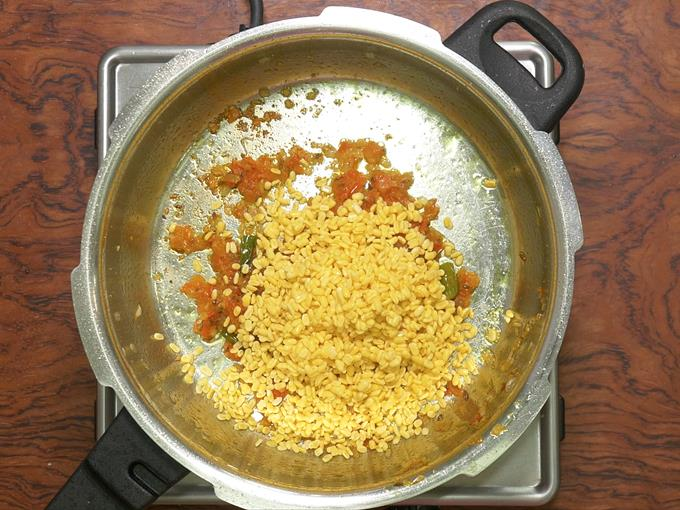 frying dal for khichdi