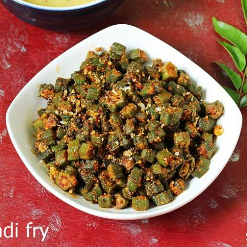 Bhindi Fry Recipe How To Make Bhindi Fry Swasthi S Recipes