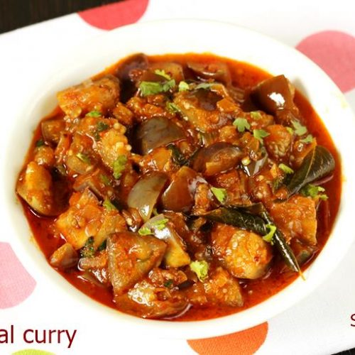 Brinjal Curry Recipe How To Make Brinjal Curry Swasthi S Recipes