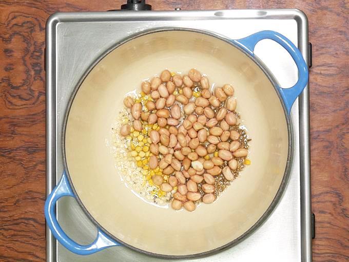 add in urad dal, chana dal and peanuts