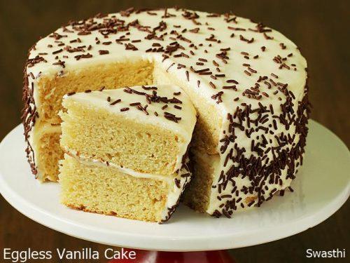Eggless vanilla cake recipe | How to