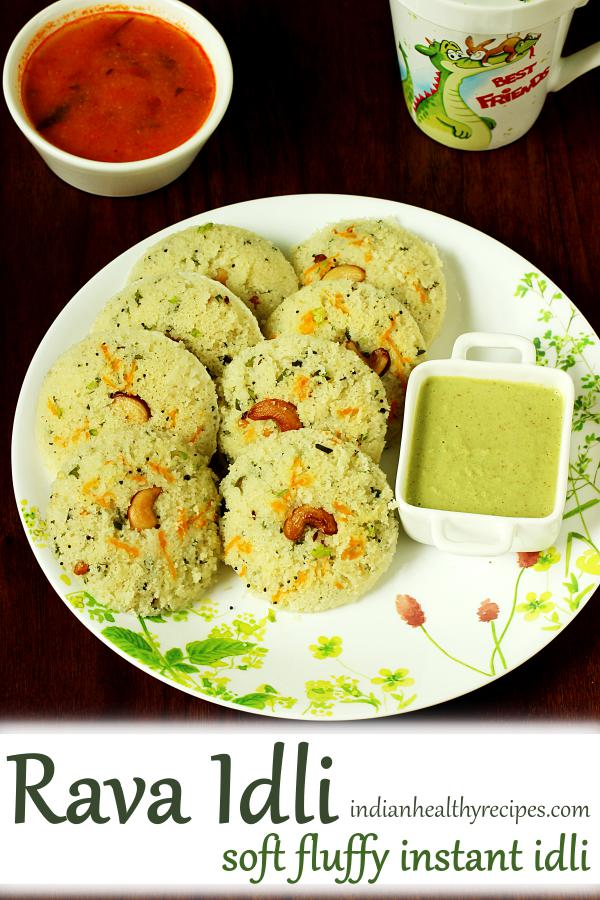 Rava idli - Recipe to make soft, fluffy delicious instant rava idli. The batter needs no fermentation or grinding. #ravaidli #idli #indianbreakfast #breakfast