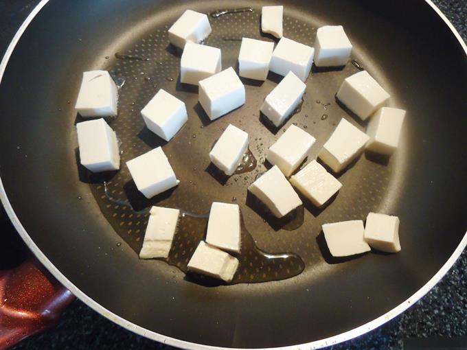 frying tofu in pan