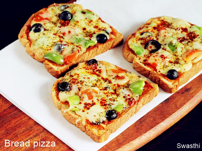 Bread Pizza Recipe How To Make Bread Pizza Swasthi S Recipes