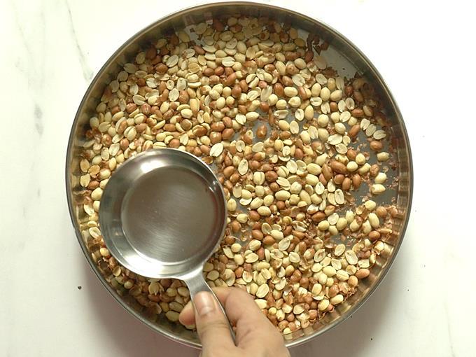 cooling peanuts to deskin